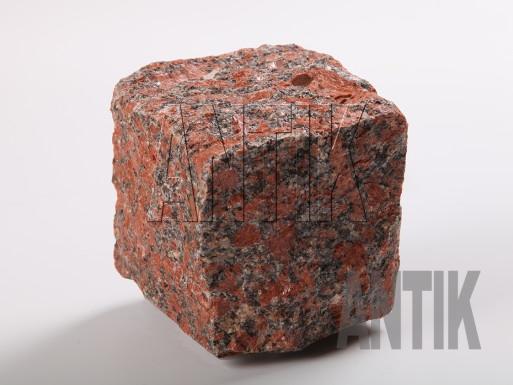 Granit Pflastersteine Rosso Santiago gespalten 100x100x100