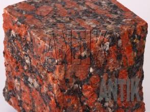 Брусчатка гранит пилено-колотая Капустинское (Rosso Santiago) 100x100x100 (фактура мокрая)