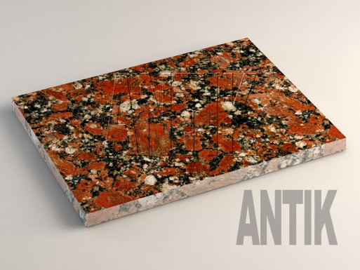 Капустинское (Rosso Santiago) Гранит плита облицовочная 400x300x20