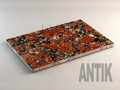 Капустинское (Rosso Santiago) Гранит плита облицовочная 600x400x20
